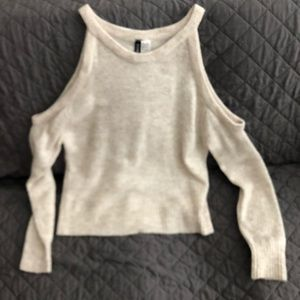 H&M Divided Cold Shoulder Cream Sweater Size Small
